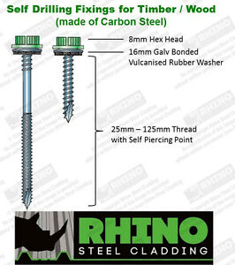 Tek-Screws-Timber-Wood-Self-Drilling-Tapping-Fixings-for-Box-Profile-Roof-Sheets
