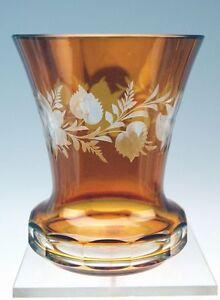 BOHMISCHER-WALZEN-BECHER-ORANGE-BRAUN-LASIERT-GESCHLIFFEN-GLASS-BEAKER-UM-1920