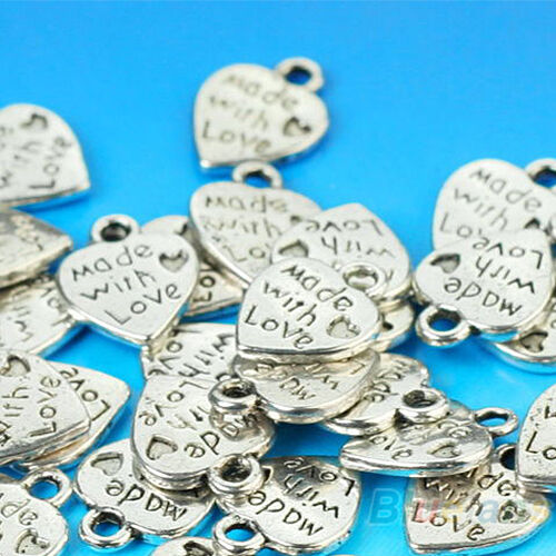 50Pcs Tibet Silver Made With Love Charm Heart Beads Pendants Jewelry Finding DIY