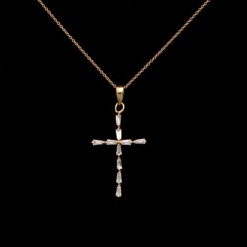 """0.25ct Brilliant Baguette Cut Cross Pendant 14K Yellow Gold 18/"""" Necklace"""