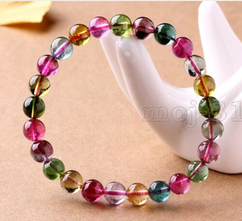 6 mm Genuine Natural Colorful Tourmaline Gemstone Beads Stretch Bracelet 7.5/""