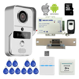 Wireless-Wifi-Video-Intercom-Door-Phone-RFID-Doorbell-Strike-Lock-Remote-Unlock