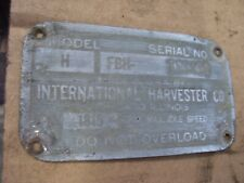 Vintage Mccormick Farmall H Tractor Serial Plate 1944