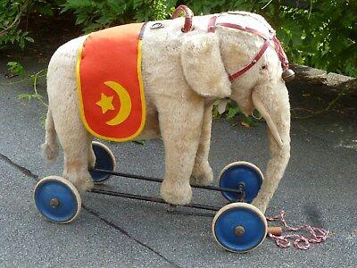 Alter Steiff Elefant, Auf Rädern Mit Lenkung