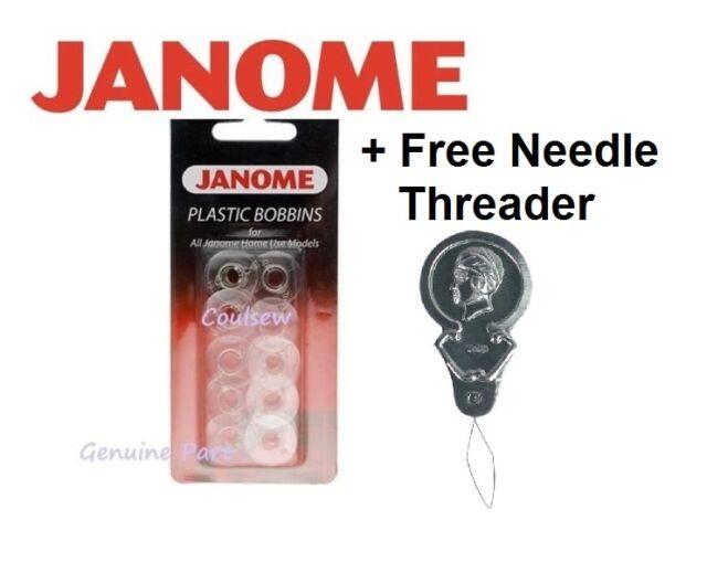 JANOME SEWING MACHINE QUALITY PLASTIC BOBBINS x 10 (200122717) + FREE THREADER