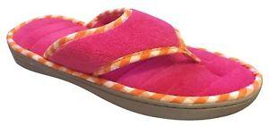 9d34cf76128 Dearfoams Women s Memory Foam Flip-Flop Terry Thong Sandals (Medium ...