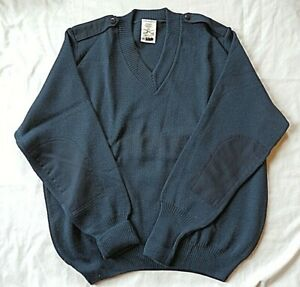 Details about USAF Military Air Force Ribbed Elbow Patch Sweater Pullover Great Britain