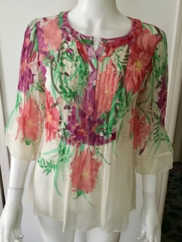 Elie Tahari Sheer Silk Floral Tunic Blouse Top Siz