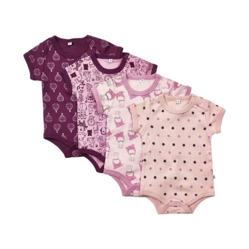Pippi Baby Mädchen 4er Pack Bodys kurzarm Gr.68-98 Bodie Body violett rose Neu!