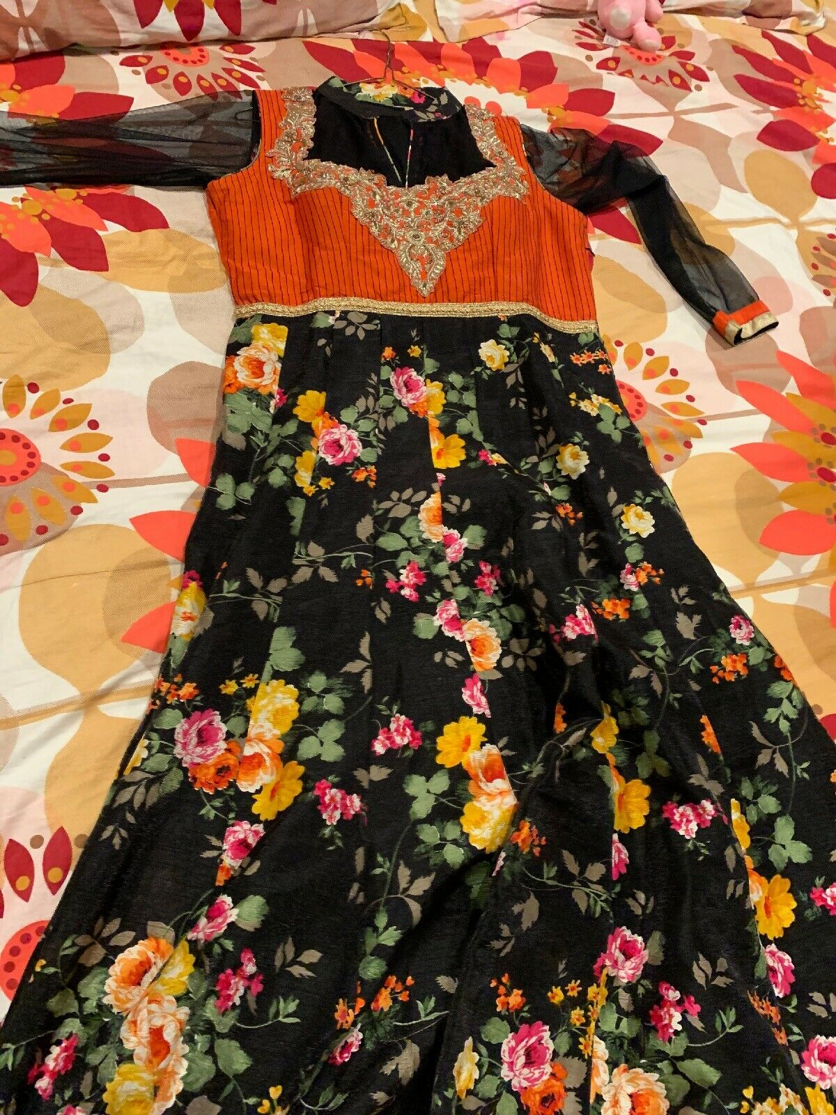 Beautiful indian party wear suit - Black And Oran… - image 2