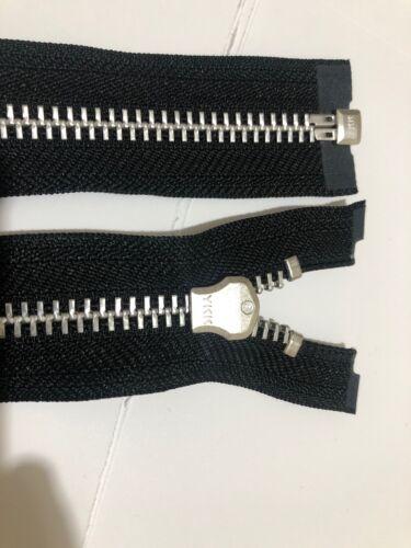 36 Pulgadas//91 cm de largo Zip//Cremallera Plata Metal dentada cinta negra NO#8 YKK
