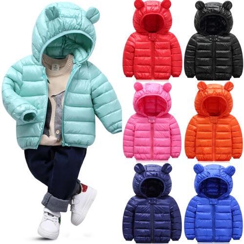 Kids Toddler Baby Boy Girl Winter Warm Cotton Down Hooded Coat Jacket Outwear US