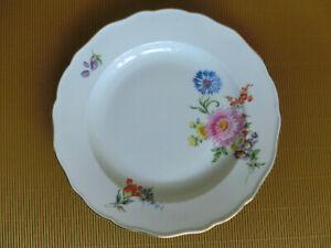 Meissen-Teller-reiche-Blumenmalerei-Blume-bunt-Goldrand-1-Wahl-25cm-Strohblume