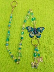 9e8ed24d0e2e4 Details about LOVELY SUN CATCHER - BLUE ENAMEL BUTTERFLY - BLUE /CLEAR  CRYSTALS - 51 cm # 223