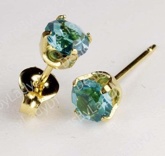 Studex Sensitive Gold 5mm December Blue Green Zircon Birthstone Stud Earrings