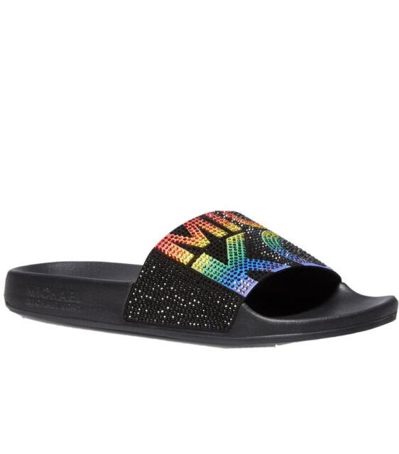 Michael Kors Gilmore Rainbow Black Micro-Suede Crystal Slides Women's Size 6❤️❤️