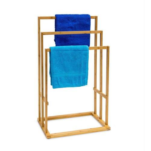 3 TIER TOWEL RAIL BATHROOM FREE STANDING STAND HOLDER BAMBOO FLOOR LIGHT WEIGHT
