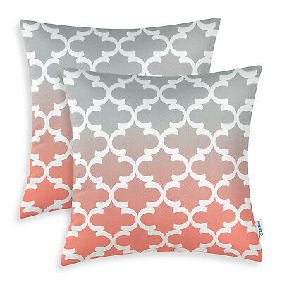 Yqy Coral Pink and White Stripes Pillow case cushion cover 45cm x 45cm, One Sides