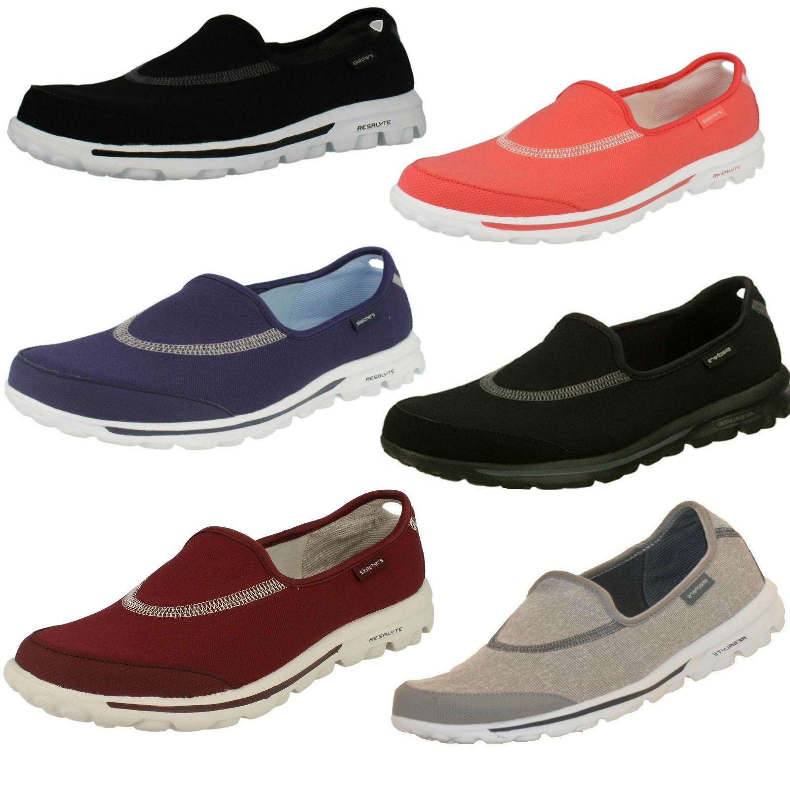 Señoras Skechers Go Walk On 13510 Slip On Walk formadores 691134