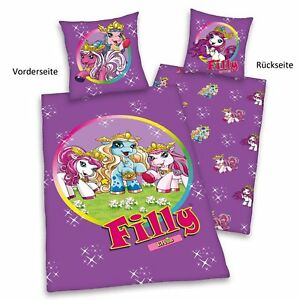 Filly-Fairy-Elves-lila-rund-warme-Winter-Bettwasche-135-200cm-Flanell-NEU-Pferd