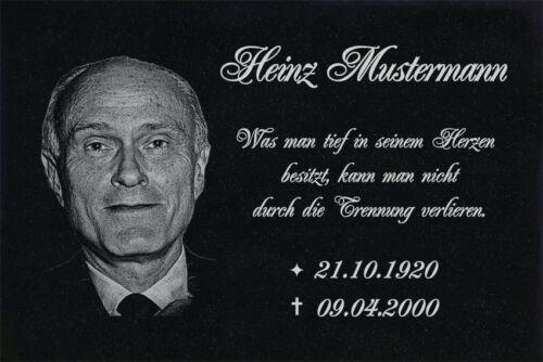 GRANITPLATTE Grabplatte GRABMAL in 20 x 15 cm ►Ihr Text /& Foto◄ Grabstein-ag06