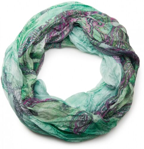 COLORATA paisley pattern loop tubo scialle Crash /& Crinkle da donna effetto leggermente