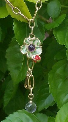 Vintage 14k Yellow Gold Amethyst Enamel Pendant Necklace Ladybug  Estate 8.7g