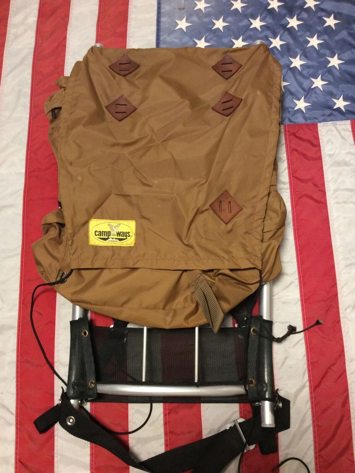 Vintage External Frame Camp Ways Backpack Nylon W/ Leather Patches,Ships Free.