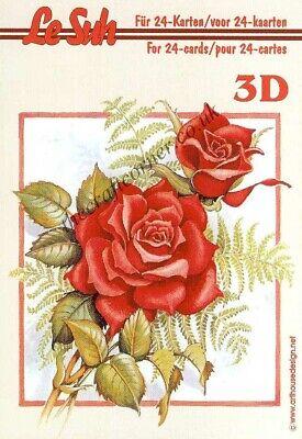 Le Suh Rose Flowers Mini Book 3D Decoupage Card Making Paper Craft *CUTTING REQ*