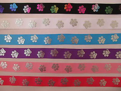 "Grosgrain Colourful Paw Print Dog Collar Ribbon 7//8/"" 22mm"