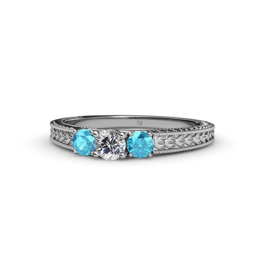 Diamond & London bluee Topaz 3 Stone Ring with Milgrain Work 0.55 ct tw 14K gold