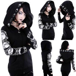 Women-Black-Gothic-Punk-Hoodie-Sweatshirt-Hooded-Moon-Printed-Pullover-Tops-Coat