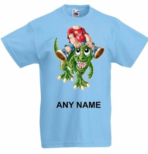 Personalised Boy DINOSAUR RIDER add your body head  Kids Tee T-Shirt T Shirt