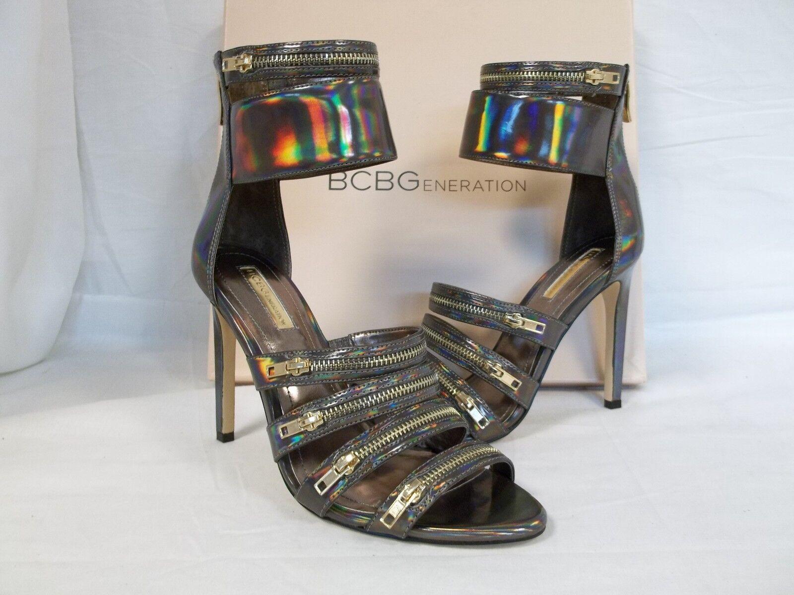 BCBGeneration BCBG Size 6.5 M Casey Bronze Hologram Heels New Womens Shoes NWB