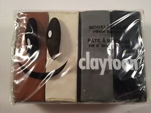 Claytoon Modeling Clay, Never Hardens - Sealed Neutral Pack of 4