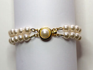 Vintage-6mm-Majorca-Double-2-Strand-Pearl-Bracelet-7-Inches