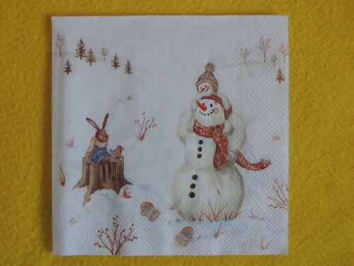 5 Servietten Winter Schneemann Hasen Serviettentechnik Rotkehlchen weihnachten