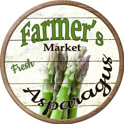 "Farmers Market Asparagus 12/"" Round Metal Kitchen Sign Novelty Retro Home Decor"