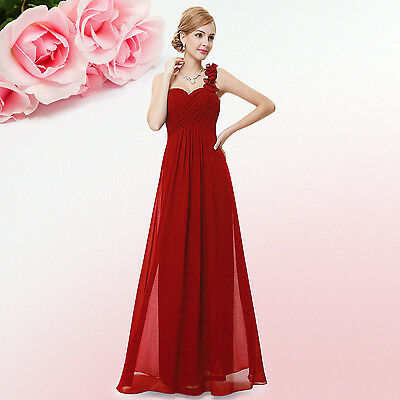 NWT Ladies One Shoulder Bridesmaid Maxi Evening Dress Formal Prom Gown 09768