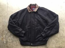 Gant USA Wool Aviator Jacket sz XL Dark Blue Leather