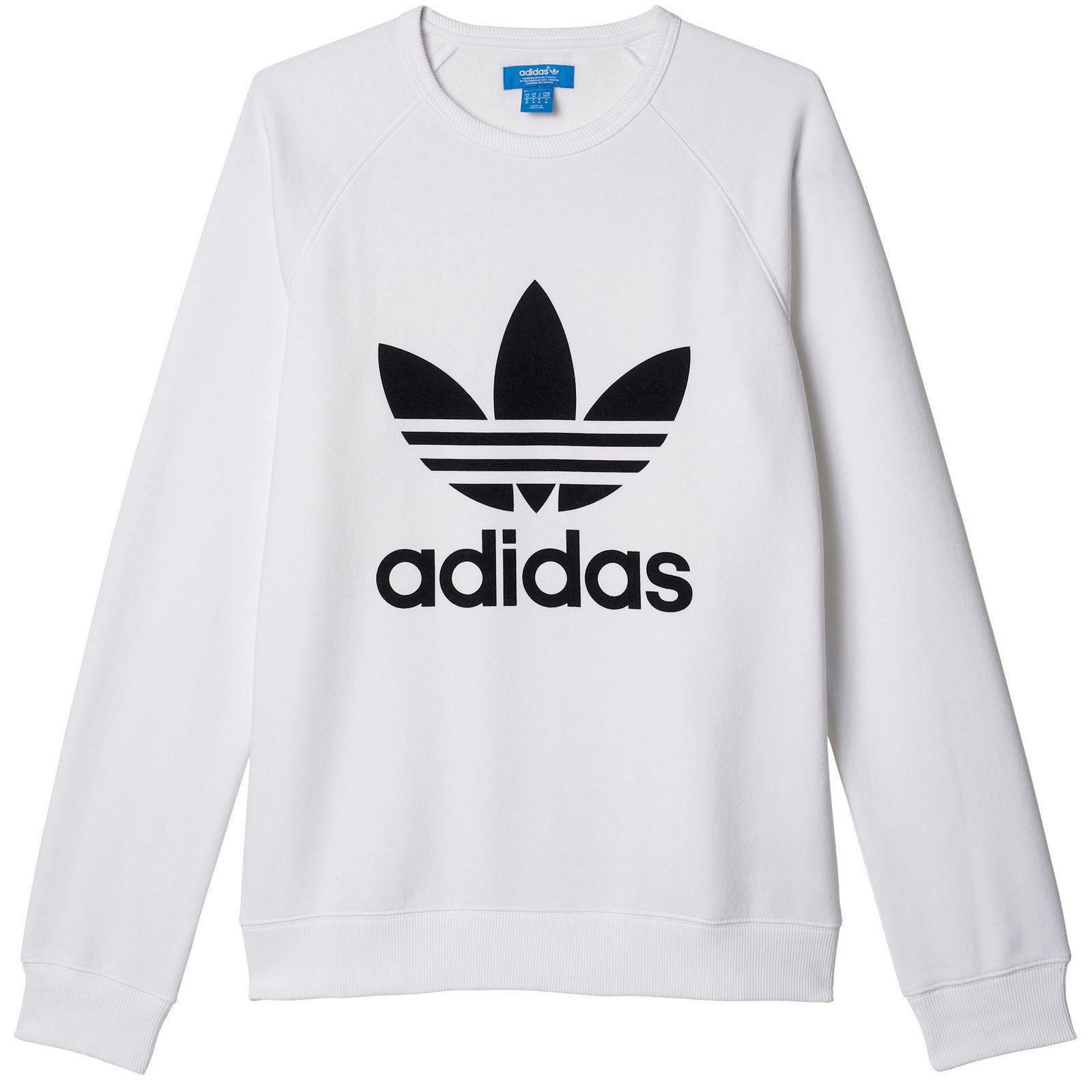 Adidas Originals Men's Trefoil Logo Crew Neck Sweatshirt Fleece Weiß & schwarz