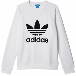 2ab612142150 Details about adidas Originals Men s Trefoil Logo Crew Neck Sweatshirt  Fleece White   Black