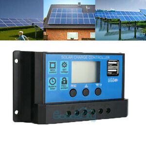 30A-12V-24V-Dual-USB-Solar-Panel-Battery-Charge-Controller-LCD-Regulator-Auto-US