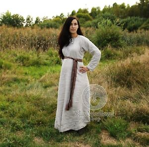 Image is loading Pskov-dress-Early-Medieval-Viking-linen-gown-kirtle-