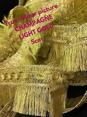 2 Yards Light Golden Lurex Fringe Zari Tassel 6cm Trim Saree Border Sew On Lace