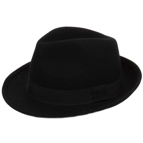 TRILBY HAT 100/% WOOL FELT WITH GROSGRAIN BAND FEDORA  BLACK or BROWN