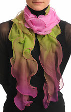 Damask Pink and Asparagus Double Layered Chiffon Ombre (SF000943)