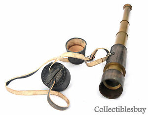 Antique-Telescope-Vintage-Leather-Spyglass-Lens-Cap-Handmade-Marine-Brass-gifts