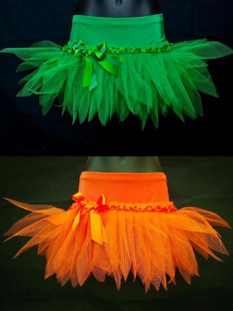 PLUS SIZE ORANGE & GREEN HALLOWEEN TUTU MINI SKIRT- FANCY DRESS UP PARTY COSTUME