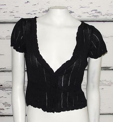 WHITE HOUSE BLACK MARKET~BLACK~CABLE KNIT~SCALLOPED~SWEATER TOP~S